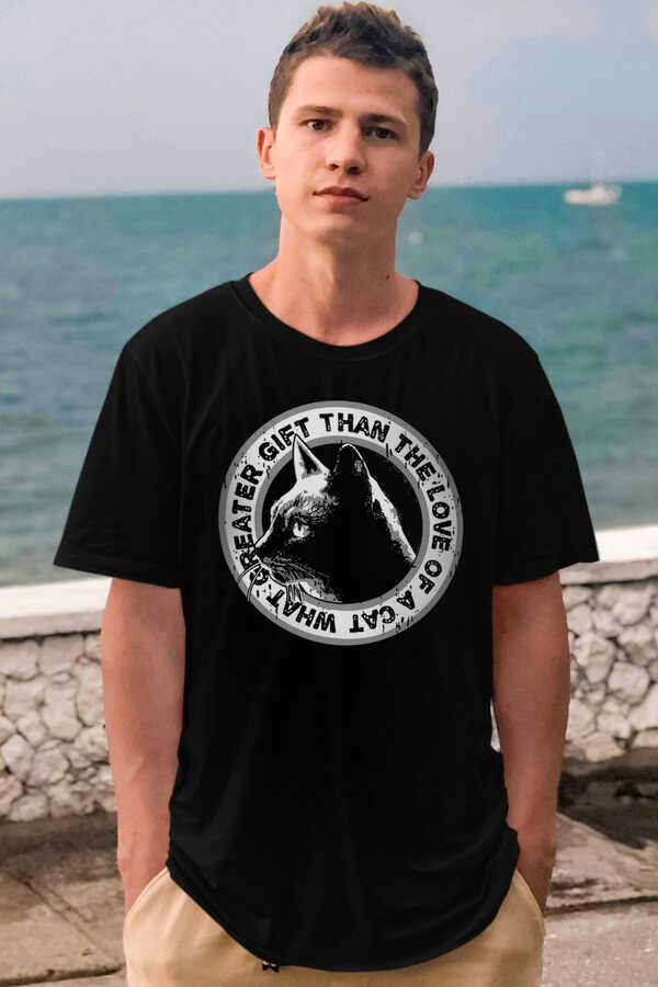 Dairede Kedi Kafası Kısa Kollu Siyah Erkek T-shirt