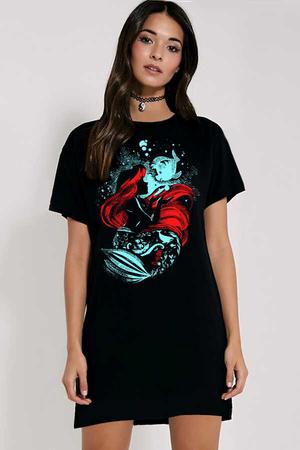 Rock & Roll - Deniz Kızı Kısa Kollu Penye Kadın | Bayan Siyah T-shirt Elbise