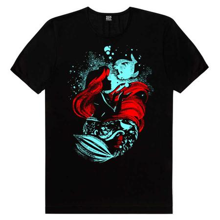 Rock & Roll - Deniz Kızı Siyah Kısa Kollu Erkek T-shirt