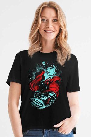 Rock & Roll - Deniz Kızı Siyah Kısa Kollu Kadın T-shirt