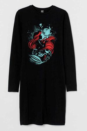 - Deniz Kızı Uzun Kollu Kadın | Bayan Siyah Penye T-shirt Elbise
