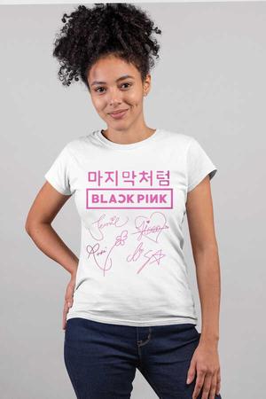 Rock & Roll - Dört İmza Beyaz Kısa Kollu Kadın T-shirt