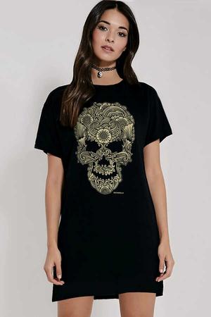 - Dövme Kurukafa Kısa Kollu Penye Kadın | Bayan Siyah T-shirt Elbise