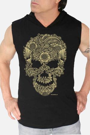Rock & Roll - Dövme Kurukafa Siyah Kapşonlu Kesik Kol   Kolsuz Erkek T-shirt   Atlet
