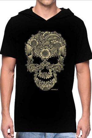 Rock & Roll - Dövme Kurukafa Siyah Kapşonlu Kısa Kollu Erkek T-shirt