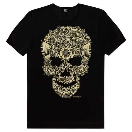 Rock & Roll - Dövme Kurukafa Siyah Kısa Kollu Erkek T-shirt