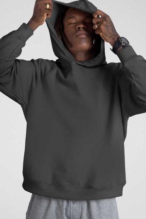 - Düz, Baskısız Antrasit Kapüşonlu Kalın Erkek Sweatshirt