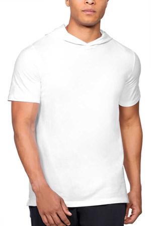 Rock & Roll - Düz, Baskısız Basic Beyaz Kapşonlu Kısa Kollu Erkek T-shirt