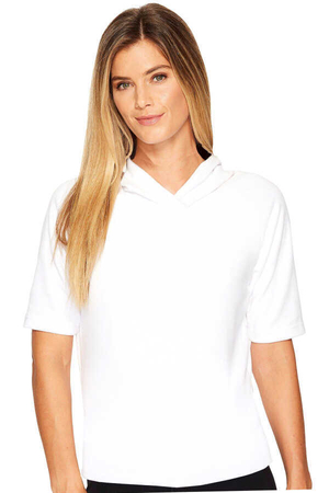 Rock & Roll - Düz, Baskısız Basic Beyaz Kapşonlu Kısa Kollu Kadın T-shirt