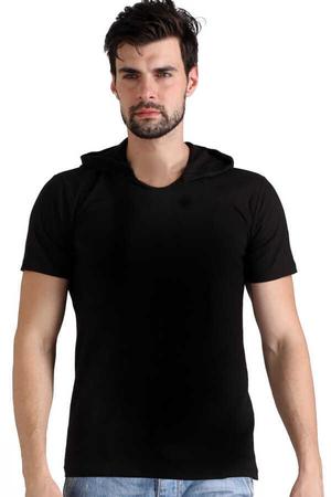 Rock & Roll - Düz, Baskısız Basic Siyah Kapşonlu Kısa Kollu Erkek T-shirt