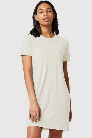 Rock & Roll - Düz, Baskısız Kısa Kollu Penye Kadın   Bayan Kar Melanj T-shirt Elbise
