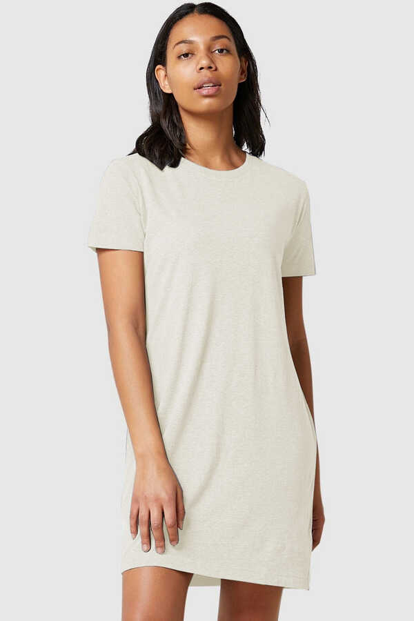 Düz, Baskısız Kısa Kollu Penye Kadın   Bayan Kar Melanj T-shirt Elbise