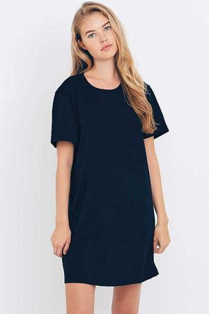 Rock & Roll - Düz, Baskısız Kısa Kollu Penye Kadın | Bayan Lacivert T-shirt Elbise