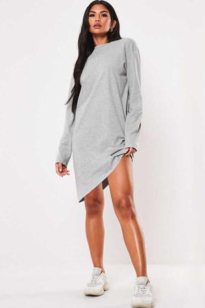 - Düz Baskısız Uzun Kollu Kadın   Bayan Kar Melanj Penye T-shirt Elbise
