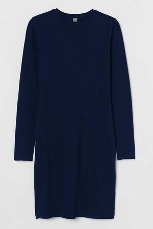 - Düz Baskısız Uzun Kollu Kadın | Bayan Lacivrt Penye T-shirt Elbise