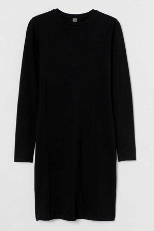 - Düz Baskısız Uzun Kollu Kadın | Bayan Siyah Penye T-shirt Elbise