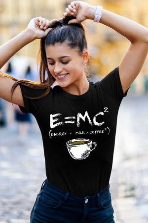 - Enerjik Kahve Kısa Kollu Siyah Kadın T-shirt
