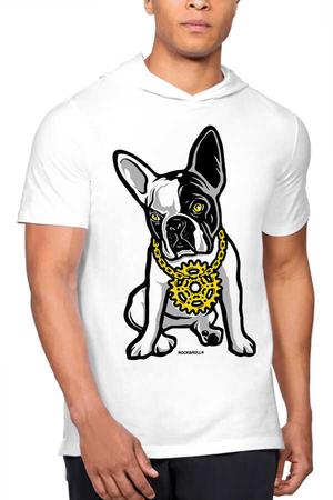 - Fransız Rapçi Beyaz Kapşonlu Kısa Kollu Erkek T-shirt