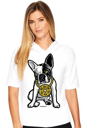 - Fransız Rapçi Beyaz Kapşonlu Kısa Kollu Kadın T-shirt