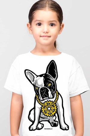 Rock & Roll - Fransız Rapci Kısa Kollu Beyaz Çocuk T-shirt