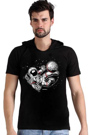 Rock & Roll - Futbolcu Astronot Siyah Kapşonlu Kısa Kollu Erkek T-shirt