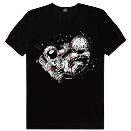 Rock & Roll - Futbolcu Astronot Siyah Kısa Kollu Erkek T-shirt
