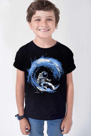 Rock & Roll - Galaktik Sörfcü Kısa Kollu Siyah Çocuk T-shirt