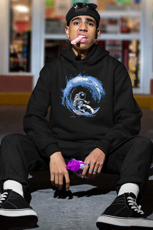 - Galaktik Sörfcü Siyah Kapüşonlu Kalın Erkek Sweatshirt