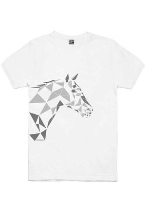 - Geometrik At Kısa Kollu Beyaz Erkek T-shirt