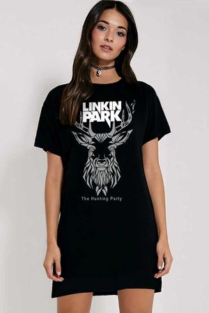Rock & Roll - Geometrik Geyik Kısa Kollu Penye Kadın | Bayan Siyah T-shirt Elbise