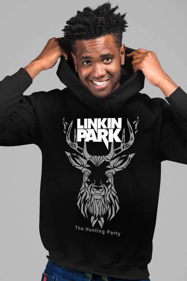 Geometrik Geyik Siyah Kapüşonlu Erkek Sweatshirt