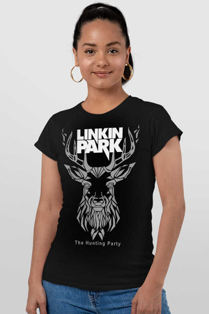 Rock & Roll - Geometrik Geyik Siyah Kısa Kollu Kadın T-shirt