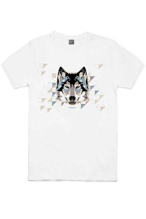 - Geometrik Kurt Kısa Kollu Beyaz Erkek T-shirt