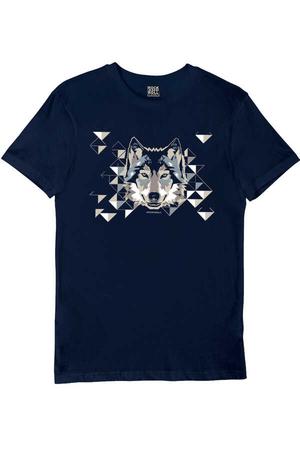 - Geometrik Kurt Kısa Kollu Lacivert Erkek T-shirt