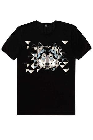 - Geometrik Kurt Kısa Kollu Siyah Erkek T-shirt