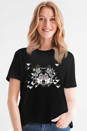 - Geometrik Kurt Kısa Kollu Siyah Kadın T-shirt