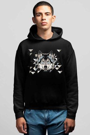- Geometrik Kurt Siyah Kapüşonlu Erkek Sweatshirt