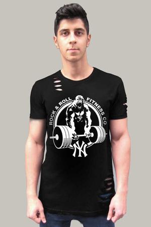 Rock & Roll - Gorilla Gym Kısa Kollu Yırtık Ripped Siyah T-shirt