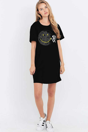 Grafitici Astronot Kısa Kollu Penye Kadın | Bayan Siyah T-shirt Elbise - Thumbnail