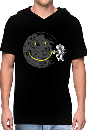 Rock & Roll - Grafitici Astronot Siyah Kapşonlu Kısa Kollu Erkek T-shirt
