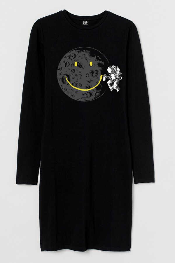 Grafitici Astronot Uzun Kollu Kadın | Bayan Siyah Penye T-shirt Elbise