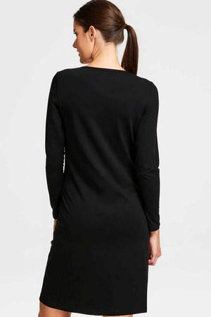 Grafitici Astronot Uzun Kollu Kadın | Bayan Siyah Penye T-shirt Elbise - Thumbnail