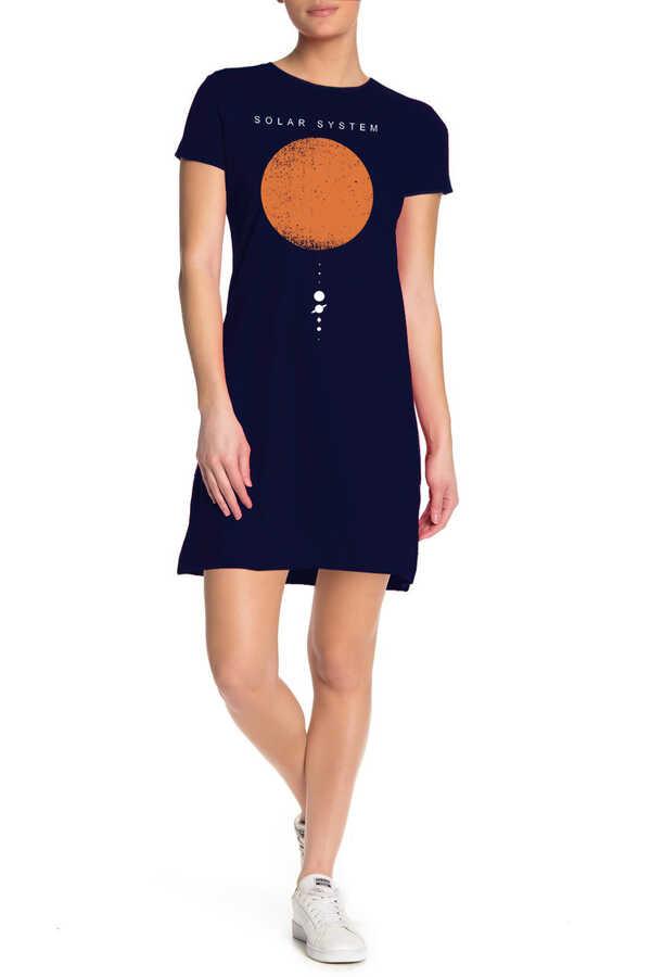 Güneş Sistemi Kısa Kollu Penye Kadın | Bayan Lacivert T-shirt Elbise
