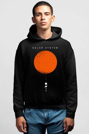 Rock & Roll - Güneş Sistemi Siyah Kapşonlu Erkek Sweatshirt