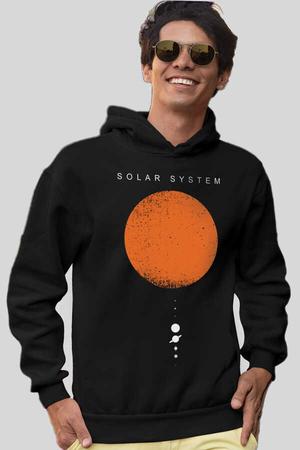 - Güneş Sistemi Siyah Kapüşonlu Kalın Erkek Sweatshirt