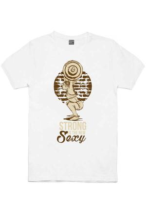 Güzel Ve Güçlü Kısa Kollu Beyaz Erkek T-shirt - Thumbnail