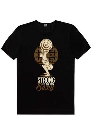 - Güzel Ve Güçlü Kısa Kollu Siyah Erkek T-shirt