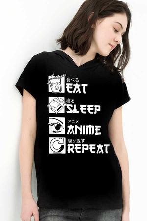 - Hep Anime Siyah Kapşonlu Kısa Kollu Kadın T-shirt