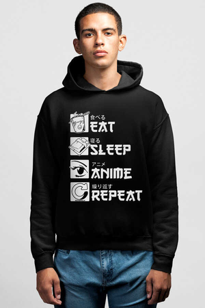 - Hep Anime Siyah Kapüşonlu Erkek Sweatshirt