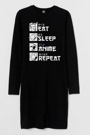 - Hep Anime Uzun Kollu Kadın | Bayan Siyah Penye T-shirt Elbise